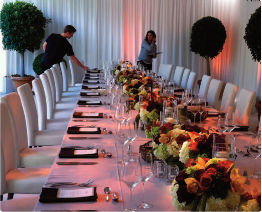 banquet table setup by CORNUCOPIA CATERING